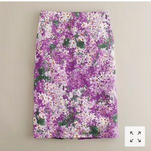 J. Crew Floral Watercolor lilac Pencil Skirt 6 8